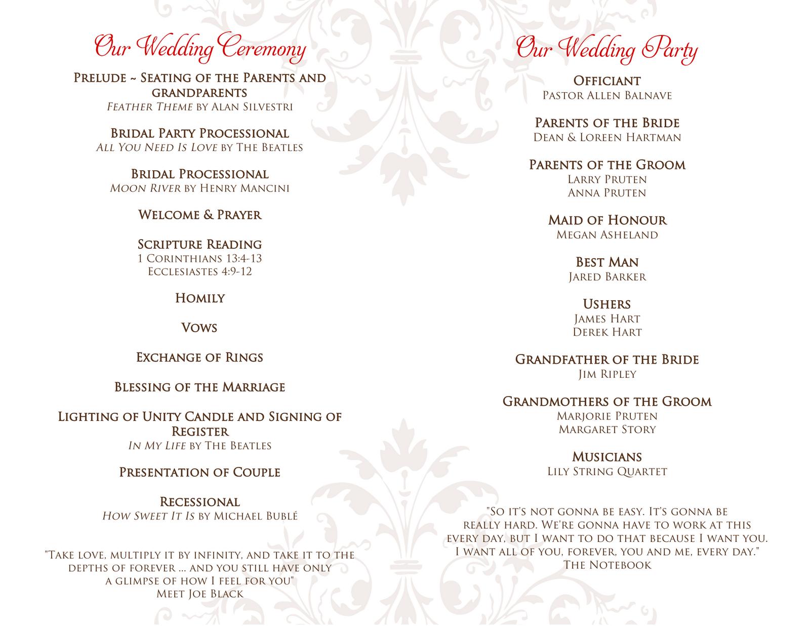 wedding programs wedding programs Signatures by Sarah Wedding programs for Amanda