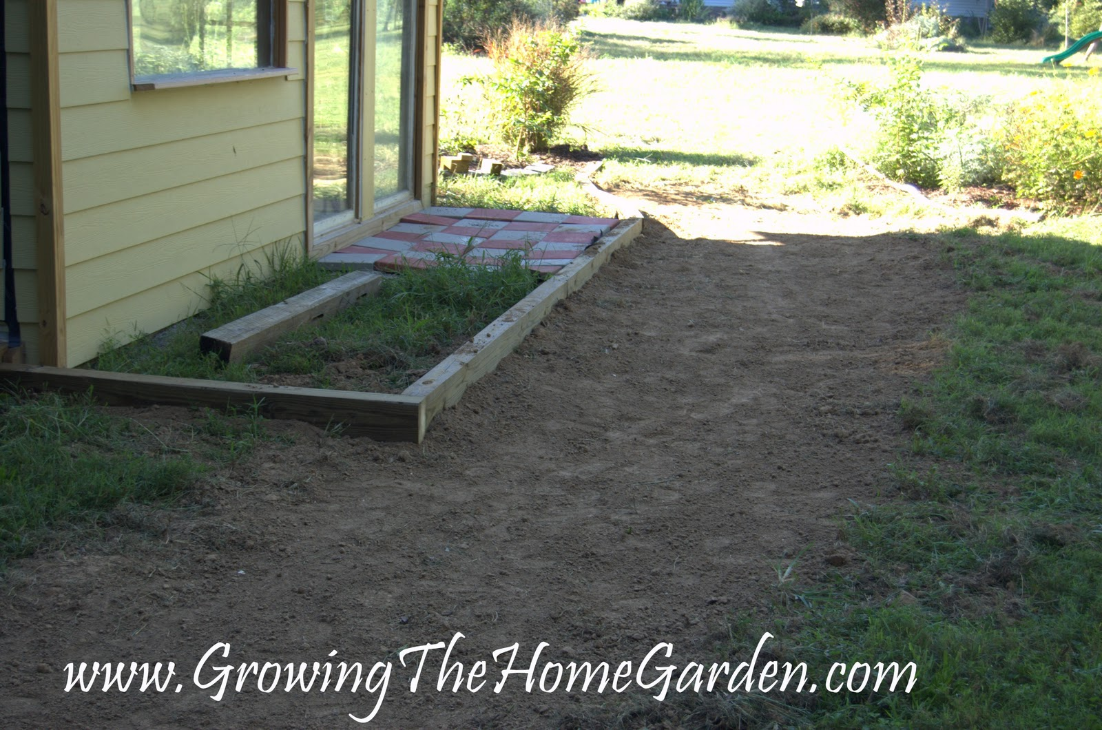 Garden Shed Drainage Pathway And Loads Of Dirt Growing