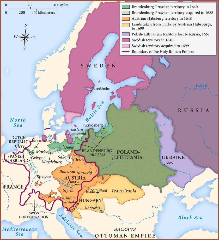 17th century europe map Map of Central,Northern and Eastern Europe in second half of 17th