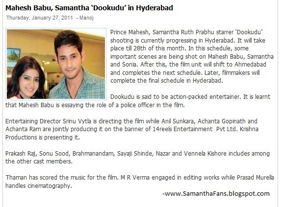 Mahesh Babu, Samantha 'Dookudu' in Hyderabad - SAMANTHA FANS  Mahesh
