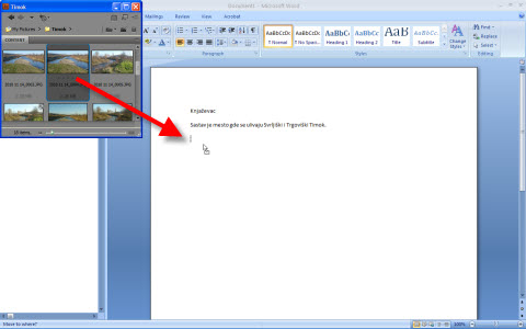 Locate photo in Bridge then click in Word to appear vibrant line at place in document  where you want to insert picture