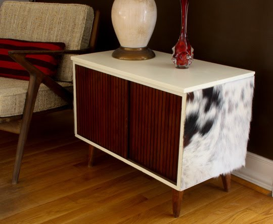 ... Finds Gal: DIY How To Funk Up A Vintage Record Cabinet With Cowhide