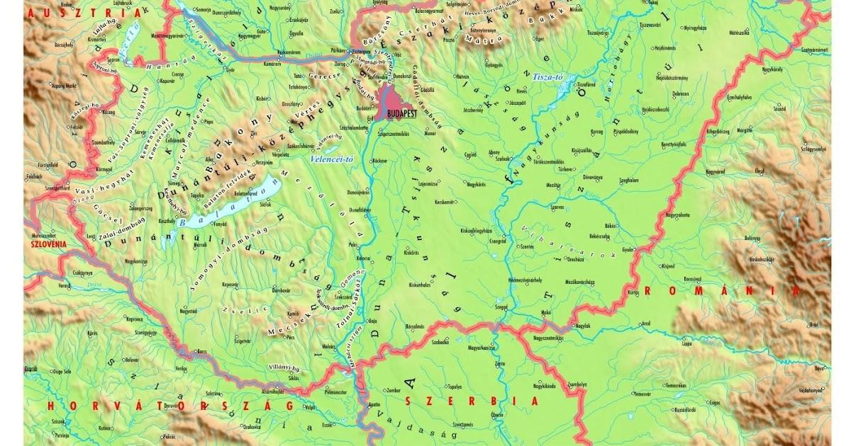 földrajzi térkép magyarország Online térképek: Magyarország domborzati térkép földrajzi térkép magyarország