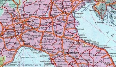 Road Map Of Northern Italy.Online Maps Italy Roadmap In Russian