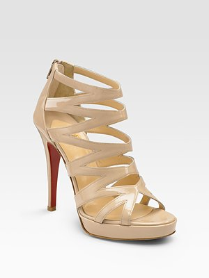 e5893014fc0 ... christian louboutin Fernando caged sandals Black patent covered heels  ...