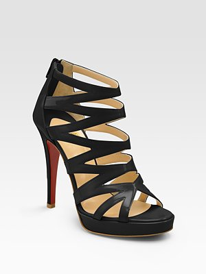 a017fe05157 ... christian louboutin Fernando caged sandals Black patent covered heels