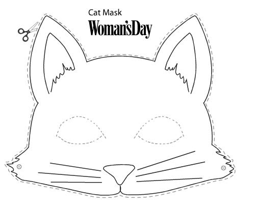 Printable Cat Mask Craft Sketch Coloring Page