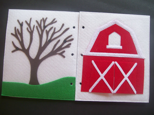 Homemade Quiet Book - Free Templates. Seasons Tree and Barn Pages