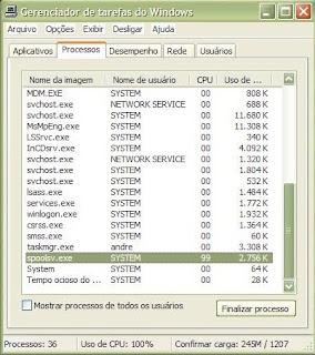 SPOOLSV.exe consumindo praticamente 100% de CPU