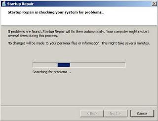 A ferramenta Startup Repair tentando reparar a inicialização do Windows 7