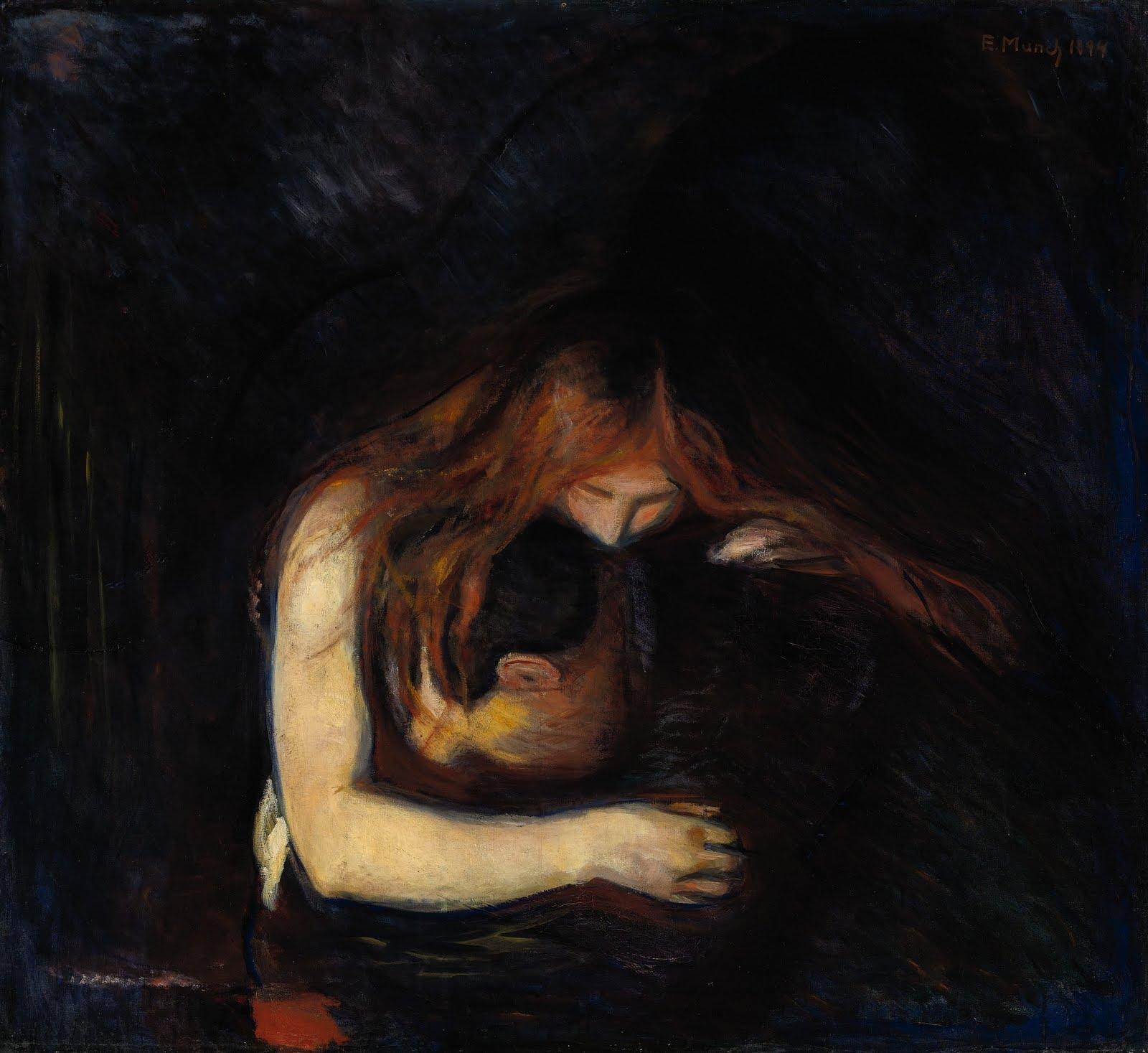 Vampire 1894 Edvard Munch hand-painted oil painting   Vampire Edvard Munch