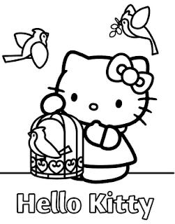 Hello Kitty da colorare con gabbia uccellino