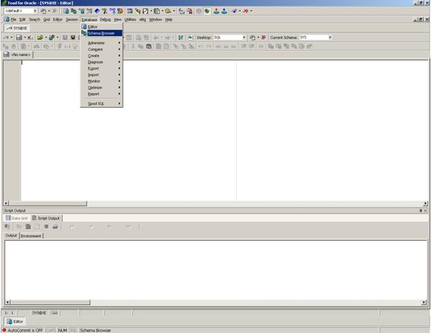 Create Tables in Oracle Database using TOAD