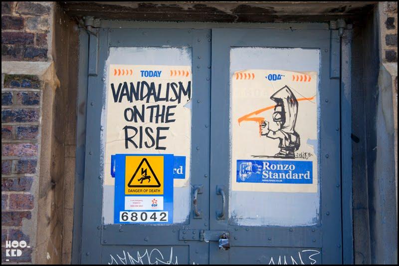 London street artist Ronzo's paste-ups in Shoredich