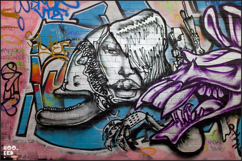 Street Art work in South London's Leake Street by American artist David Choe and DVS
