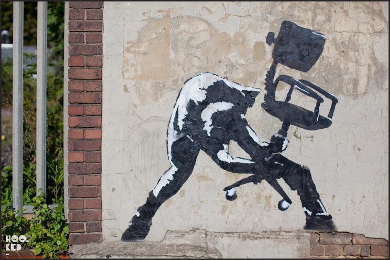 Banksy Stencil South London - Smashing Chair / Clash