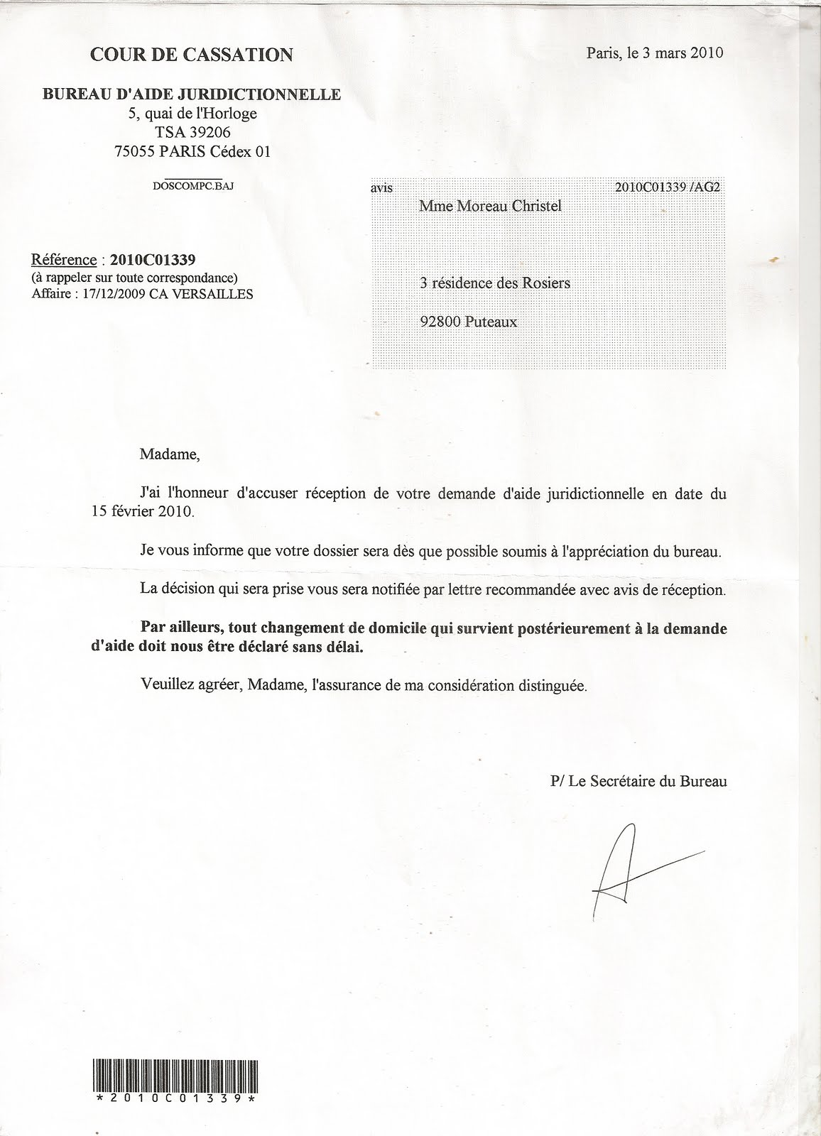 modele de lettre main courante Soutiens Des parents .S.E.F.C.A. Europe: affaire lorentz contre le  modele de lettre main courante