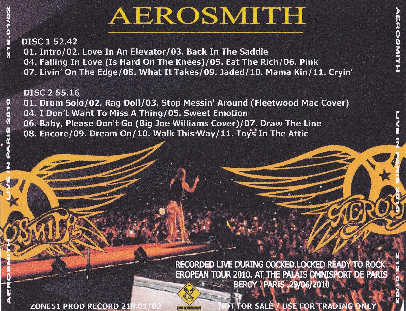 Aerosmith Bootlegs Cover Arts Live In Paris 2010