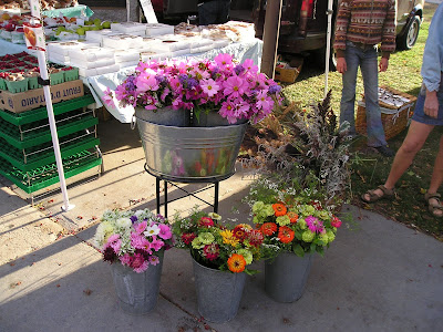 Cosmos and Zinnias at the Goderich Farmers Market
