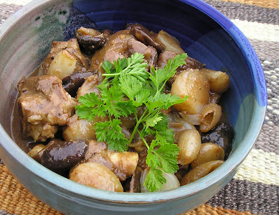Kanb Stew with Shiitakes and Shallots