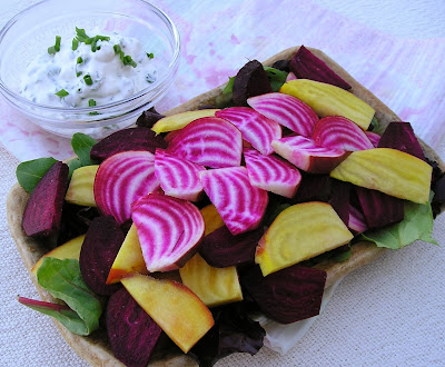 Raw Beets with Sour Cream and Chive Dip