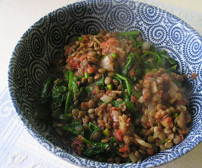 Lentils with Spinach and Tomatoes