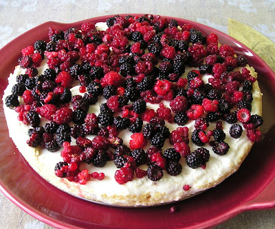 Unbaked Whipped Cream Cheese Cake Topped with Berries