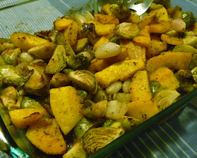 Roasted Squash, Brussels Sprouts and Shallots