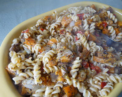 Pasta with Roasted Squash, Onions, Mushrooms and Dried Tomatoes
