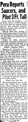 Peru Reports Saucers, & Pilot 3 Ft. Tall - The New York News - 7-25-1965 (Crpd)