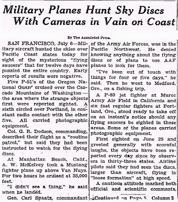 Military Planes Hunt Sky Discs (A) New York Times - 7-6-1947