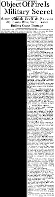 LA Guns Shell Mystery Aircraft (Body) - The Modesto Bee 2-25-1942