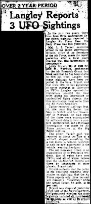 Langley Reports 3 UFO Sightings - The Daily Press Newport News  4-9-1958