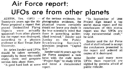 Air Force Report - UFOs are From Other Planets  Ames Daily Tribune 1-7-1974