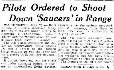Pilots Ordered To Shoot Down Saucers in Range - Charleston Gazette 7-29-1952