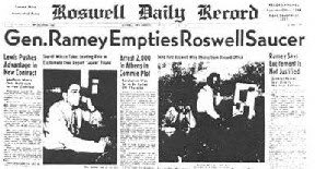 Gen Ramey Empties Roswell Saucer (Sml) - Roswell Daily Record 7-9-1947