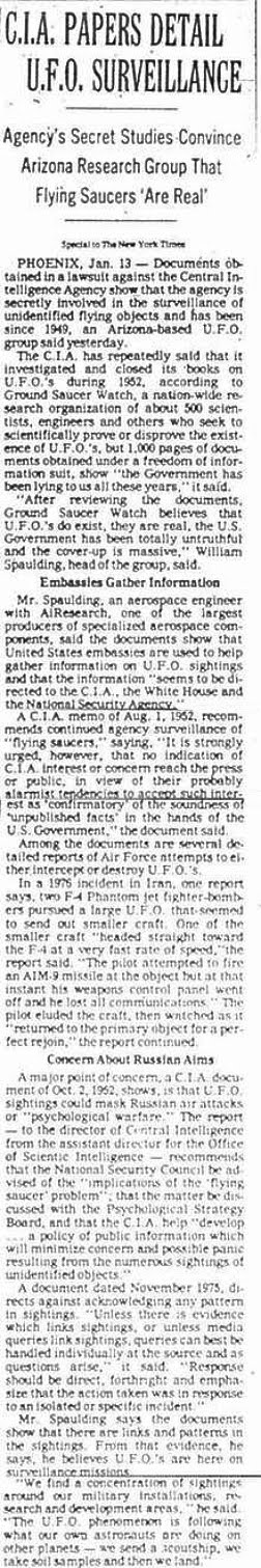 CIA Papers Detail UFO Surveillance - The New Times 1-14-79