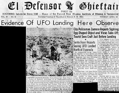 Evidence of UFO Landing Here Observe (Combined) - El Defensor Chieftan 4-28-1964