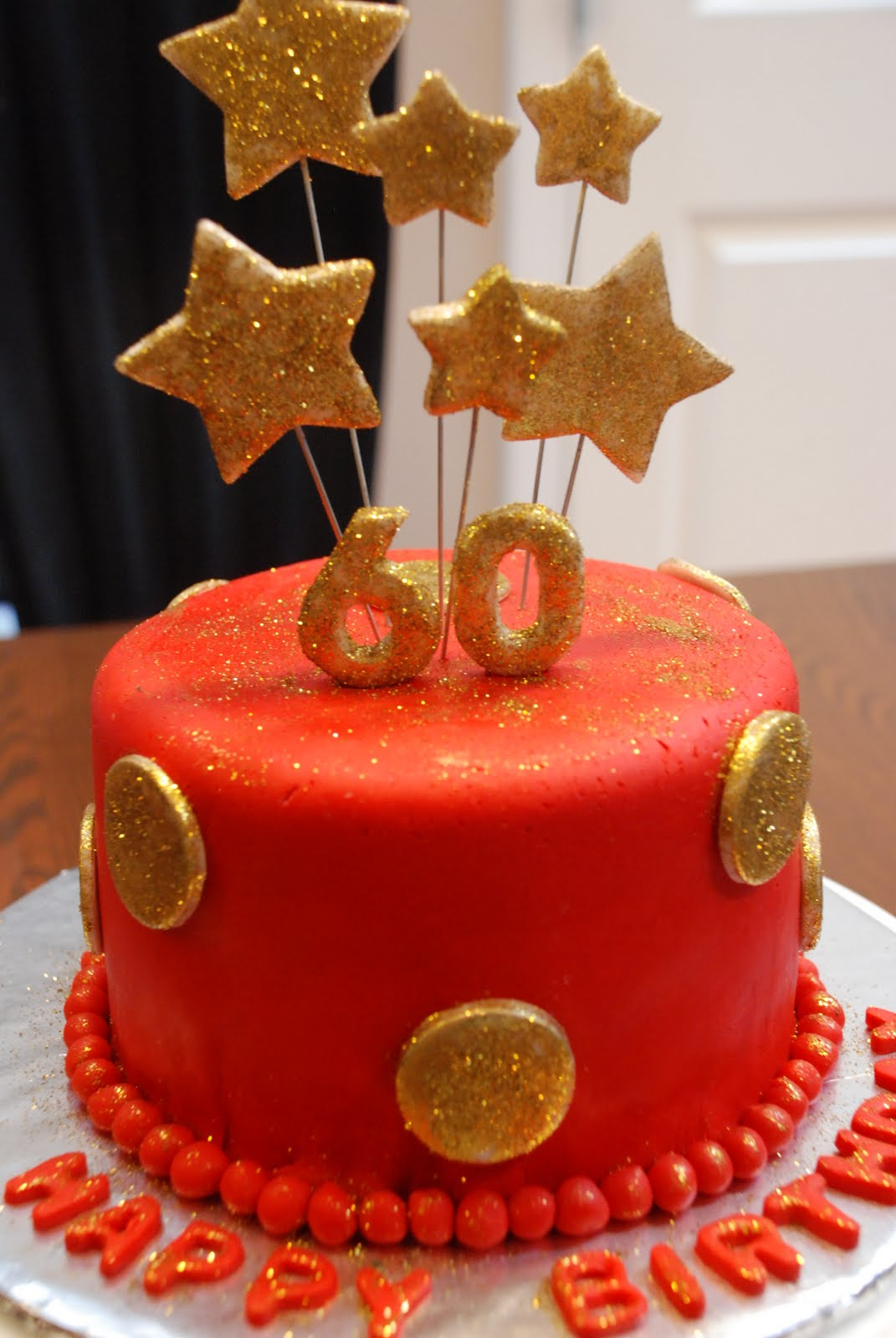 Bon G 226 Teau Red Amp Gold 60th Birthday Cake