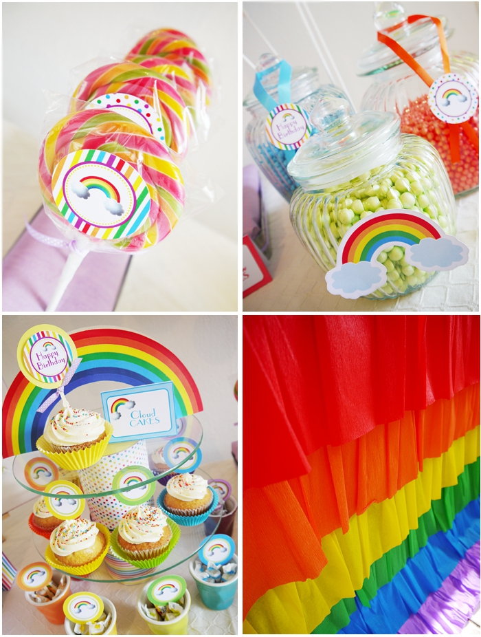 Rainbow Birthday Party with Printables - BirdsParty.com