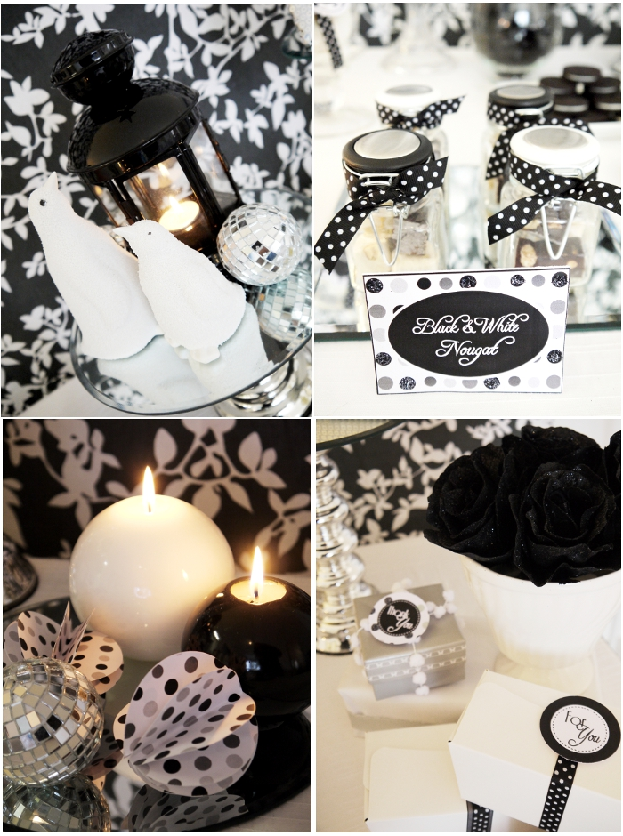 New Year's Eve Party Ideas: A Black & White 'Glitter and Snow' Holiday Party with Printables - BirdsParty.com