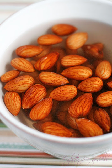 Recipe for not tuna salad- a vegan salad starts with soaked almonds- here is what the almonds look like soaking
