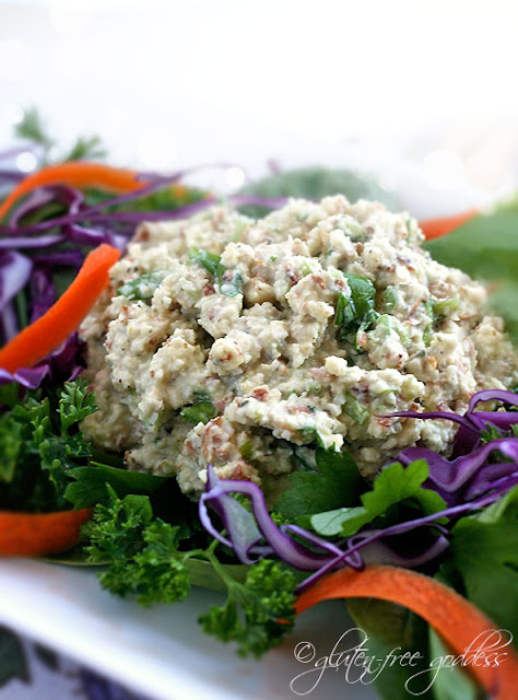 This vegan tuna style salad is made with soaked and shredded raw almonds