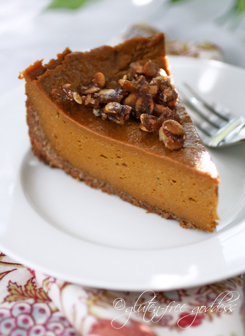 Gluten free pumpkin pie with praline and coconut pecan crust