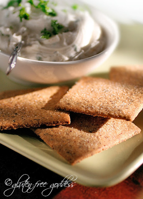 Gluten free hazelnut cracker recipe with dairy free herb cream cheese spread and both recipes are vegan
