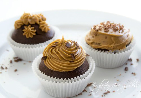 Gluten free chocolate cupcakes with coffee icing