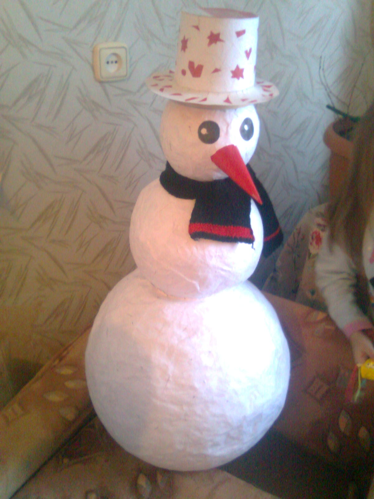 Новогодние игрушки своими руками из ваты снеговик