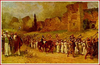 Israelites marching around the city of Jericho