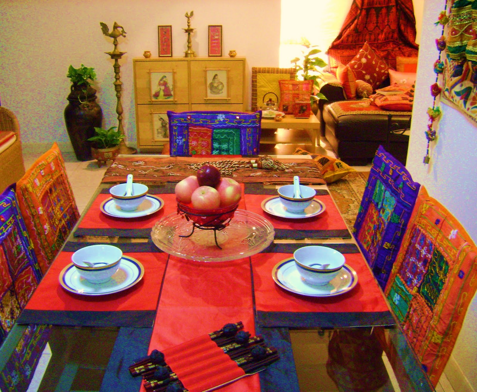 dining room chair cushion covers fancy folding chairs ethnic indian decor: an home in singapore