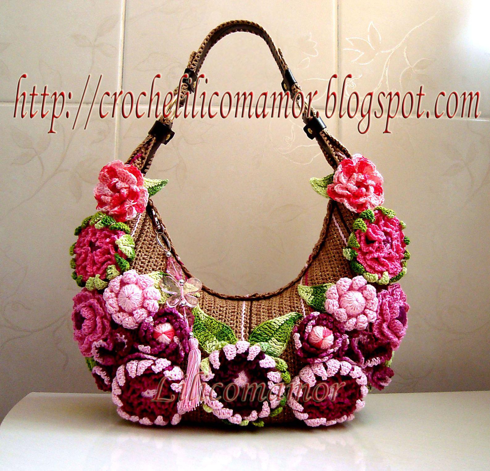 Bolsa de croche com flores - original - by lila.